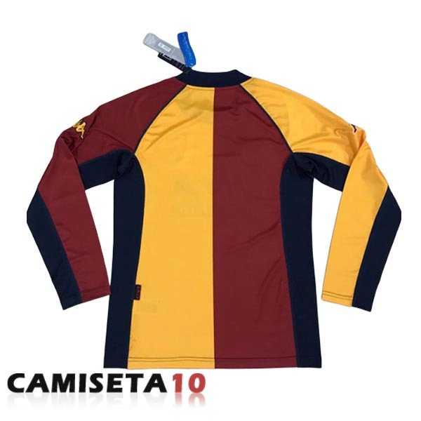 camiseta retro as roma 2001-2002 manga larga segunda
